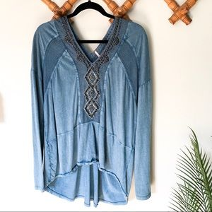 Free People   Sequined Chambray Slouch Top